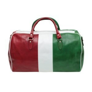 Tricolor travel bag in real leather hand luggage in natural leather Italian flag made in Italy leather Florence zip closure