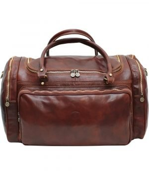large leather travel bag - Leather holdall brown made in italy. Leather travelling bag for your trip. Made in italy leather brown.