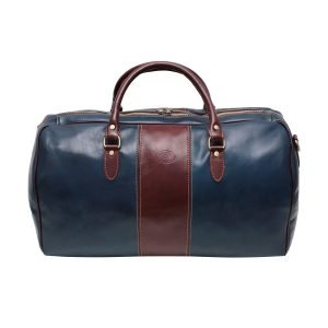 Travel bag colored blue brown real leather hand luggage in natural leather made in italy leather florence bowling bag zip closure