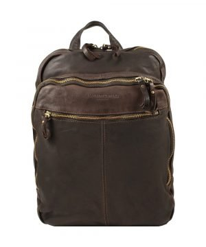 Leather rucksack for men. Natural leather brown made in italy