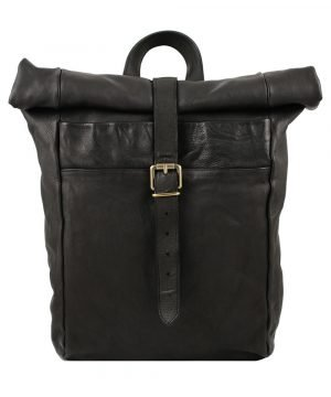 Rolled closure backpack in black washed leather made in Italy Fantini Leather goods buckle