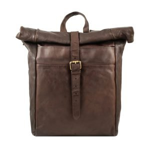 Travel backpack in brown washed leather made in Italy Fantini Pelletteria