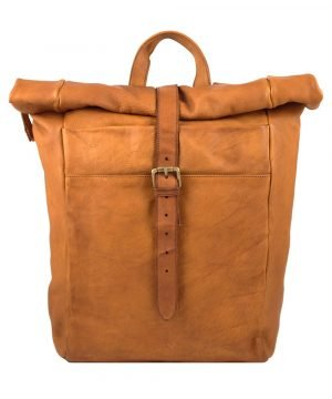 Rolled closure backpack in light brown leather made in Italy Fantini Pelletteria