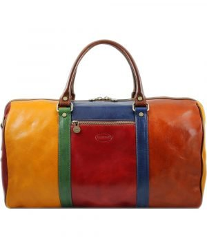 Leather bag - Leather travel bag - Leather bag - Leather bag - Leather travelling bags - Leather travelling bag multicolor. Made in italy.