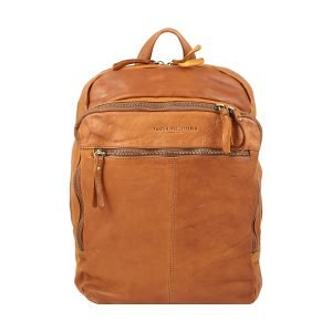 Small vintage leather women backpack in tan color Fantini Pelletteria, woman handcrafted washed leather backpack with external zippers