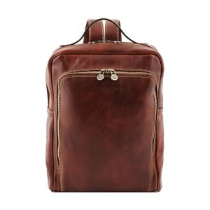 Tuscany brown leather backpack. Unisex backpack in Tuscan leather handmade in Italy.