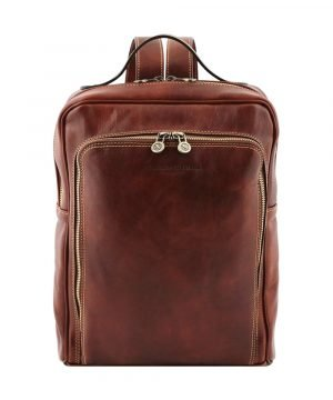 Tuscany brown leather backpack. Unisex backpack in Tuscan leather handmade in Italy. Rucksack for women and men