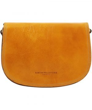 Tolfa in handcrafted yellow leather for women. Leather bag for women yellow color