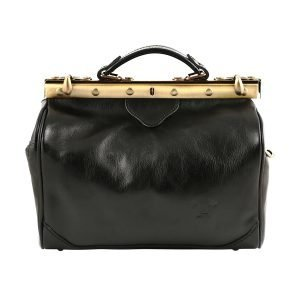 Doctor bag in black Florence leather Tuscan leather lily handcrafted doctor bag classic opening