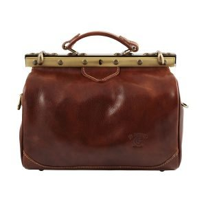 Doctor bag in firenze brown leather Tuscan leather lily handcrafted doctor bag made in italy