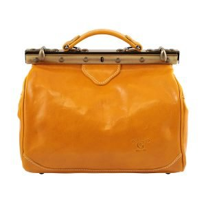 Doctor bag in yellow Florence leather Tuscan leather Italian handcrafted doctor bag