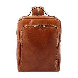 Unisex honey-colored leather backpack, leather backpack for women and men, completely handmade in Italy by the best Italian artisans.