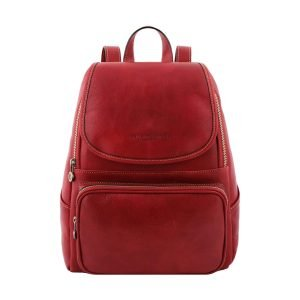 Leather rucksack in red color for women. Leather rucksack red for girls Made in Italy.