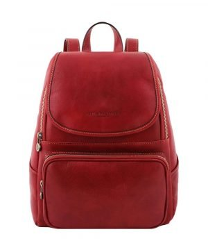 Leather rucksack in red color for women. Leather rucksack red for girls Made in Italy. Red leather backpack, red rucksack in leather