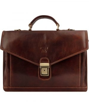 Business bag brow - leather briefcase - leather briefcase - leather business bag. Briefcase with brown front flap.