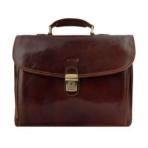 Work briefcase in brown leather for men and women Made in Italy and handcrafted.