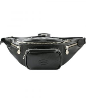 Men's pouch in black leather. Handcrafted and Made in Italy pouch.