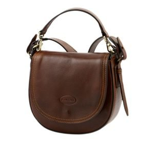 Woman's shoulder bag in brown leather. Made in Italy and handcrafted bag.