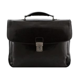 Briefcase in black leather Made in Italy. Briefcase handmade.