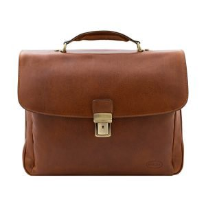 Made in Italy business briefcase in honey leather.