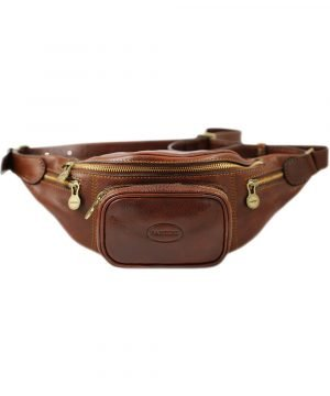Men's pouch in brown leather. Made in Italy and handcrafted belt bag.