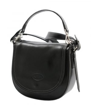 Woman's handbag in black leather. Made in Italy and handcrafted bag.