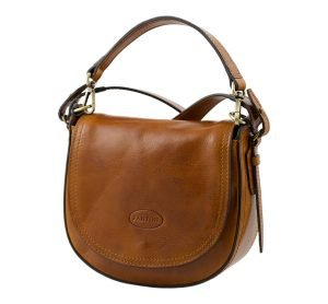 Honey leather women's shoulder bag. Handcrafted and Made in Italy bag.