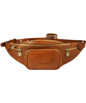 Men's pouch in honey leather. Made in Italy and handcrafted belt bag.