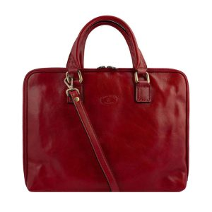 Red work bag for teachers and classy women. Made in Italy.