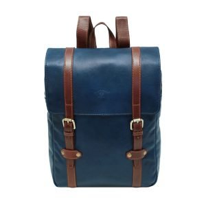 Backpack in blue and brown leather men's backpack in Florence handmade leather. Leather backpack vintage blue. Made in Italy