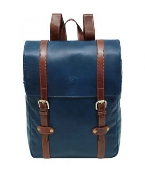Backpack in blue and brown leather men's backpack in Florence handmade leather. Leather backpack vintage blue. Made in Italy. Leather Backpack