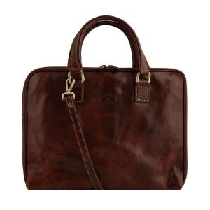 Brown work bag for teachers and classy women. Made in Italy.