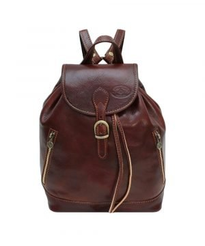 Leather backpack brown for women. Vintage leather rucksack made in italy for women