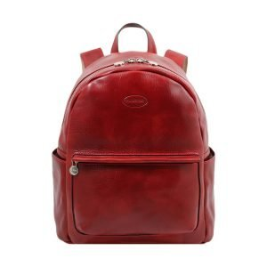 Leather Backpack red color - Leather rucksack red - Red Backpack leather for women- Fantini Pelletteria red leather backpack