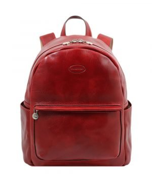 Leather Backpack red - Leather rucksack red - Red Backpack leather for women- Fantini Pelletteria red leather backpack. Red rucksack in leather