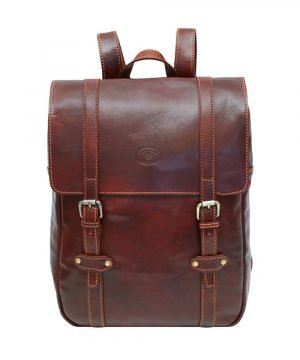 Brown leather backpack men's handmade leather backpack Florence Made in Italy