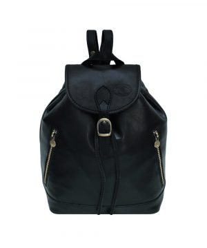 Leather rucksack vintage in black color for women. Made in italy. Leather Backpack
