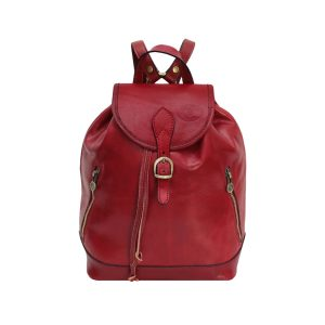 Leather backpack vintage red color. Red leather rucksack for women. Made in Italy.