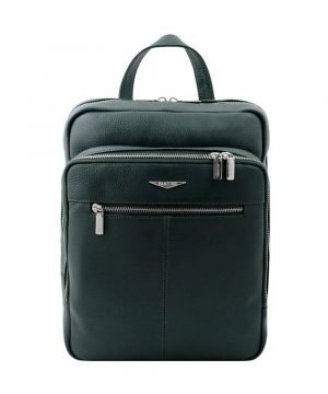 Dark green woman backpack in handmade leather and Made in Italy.