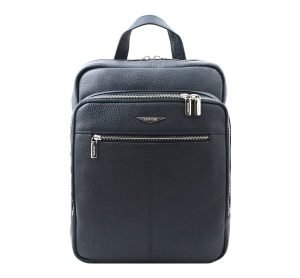 Fantini navy blue backpack in handcrafted leather and Made in Italy.
