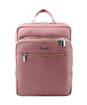 Women's pink backpack in artisan leather and Made in Italy.