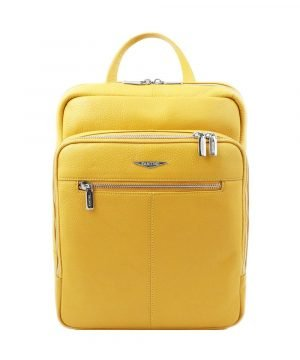 Yellow backpack in handcrafted and Made in Italy leather.