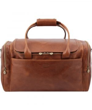 Leather holdall bag made in italy cognac